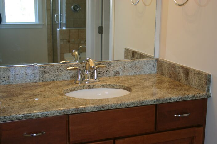 Which types of bathroom countertops are best richmond for Bathroom ideas with quartz